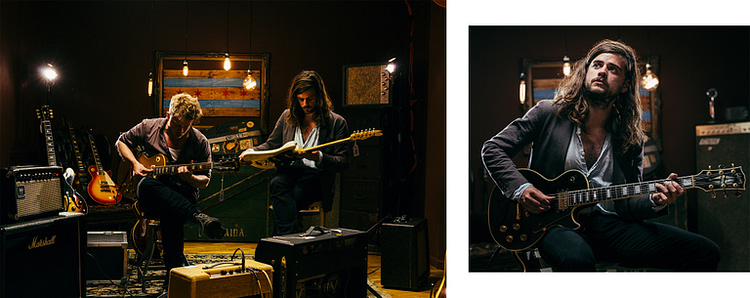Mumford & Sons Ted Dwane and Winston Marshall portraits shot at Chicago Guitar Exchange