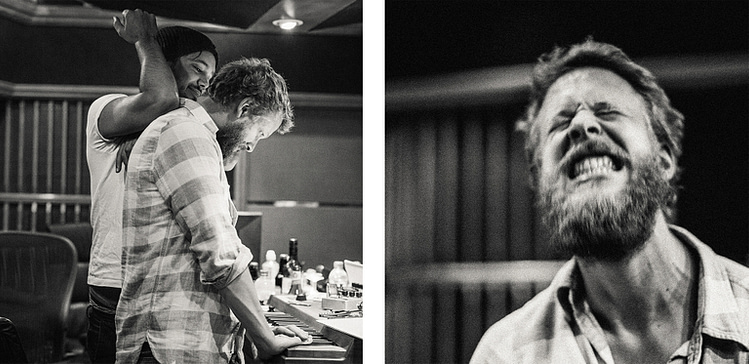 Mumford & Sons Ted Dwane and Ben Lovett photographed in the recording studio during the Wilder Mind sessions