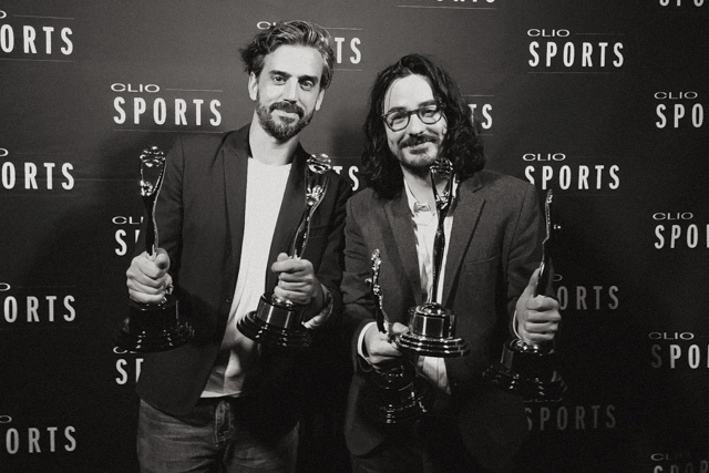 Ty Johnson & Xavier Gallego accepting recognition at the Clio Awards