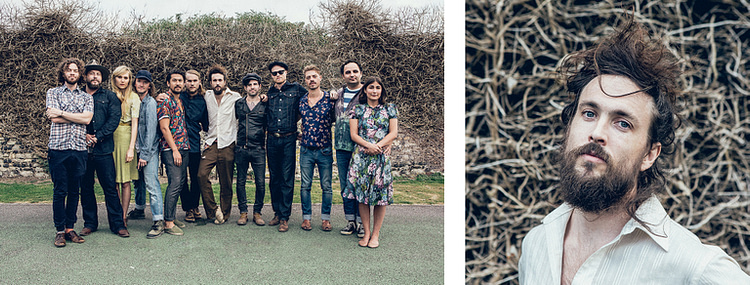 Edward Sharpe and The Magnetic Zeros band portrait alongside portrait of lead singer Alex Ebert. Shot in the UK.