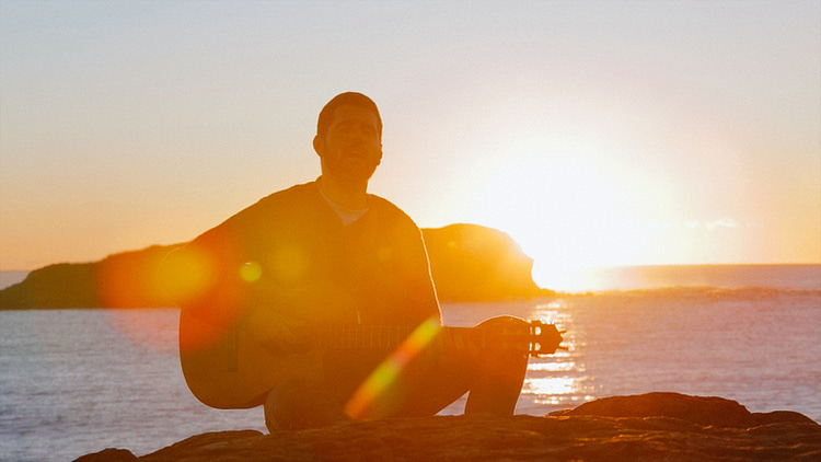Nick Mulvey shot at sunset during the filming of his music video