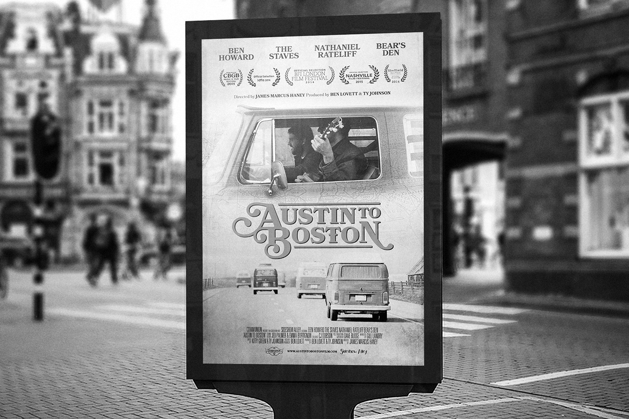 Austin to Boston poster in Amsterdam for IDFA