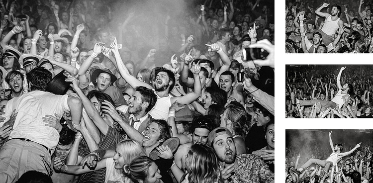 Winston Marshall of Mumford & Sons crowd surfing at a Gentlemen Of The Road festival in Australia