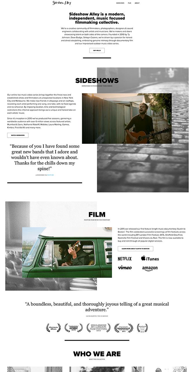 Sideshow Alley website 3