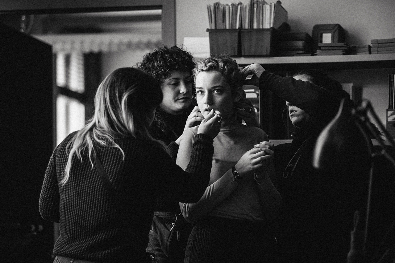 Julia Garner shot on the set of The Assistant, directed by Kitty Green