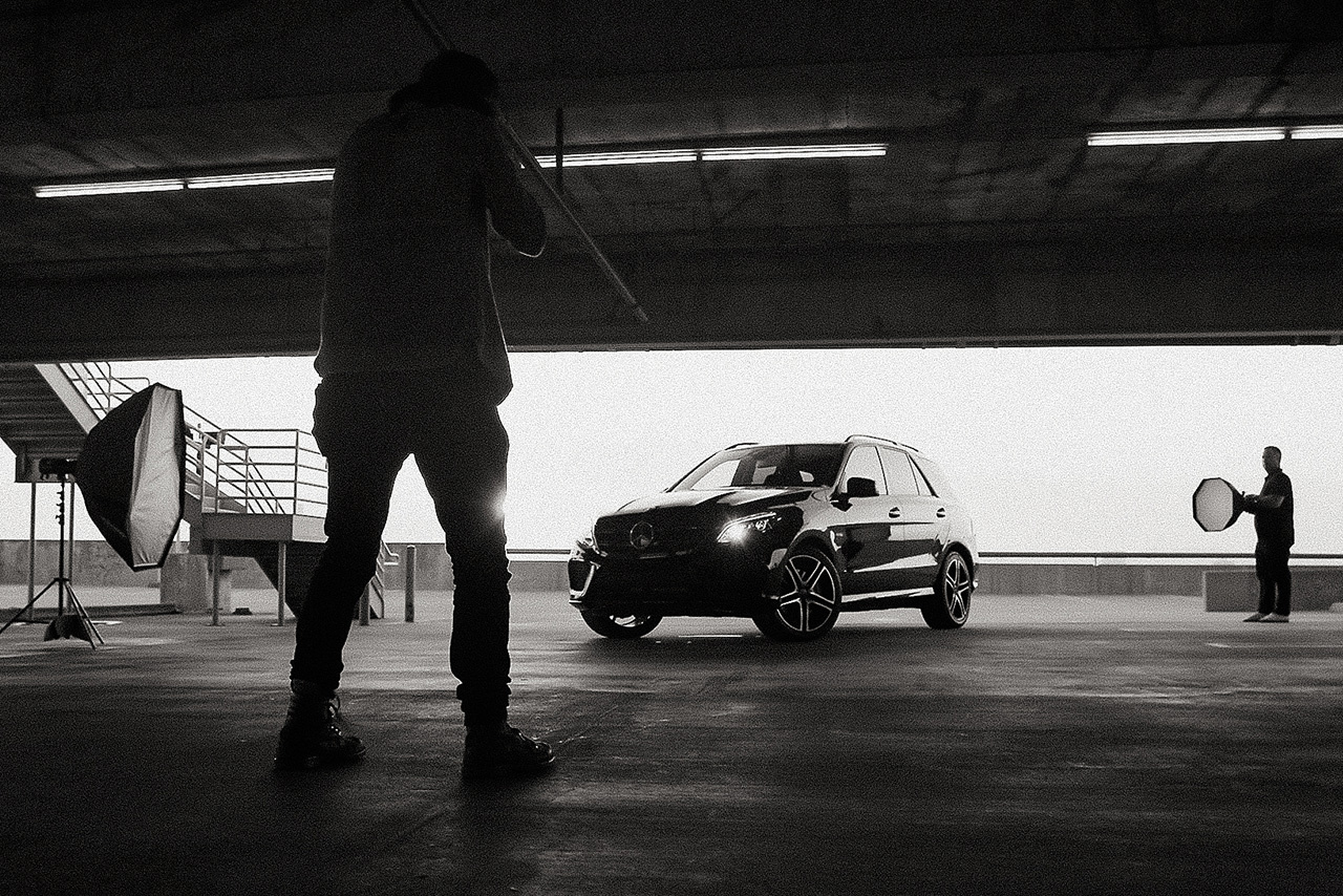 Ty Johnson shooting in Los Angeles for Mercedes-Benz